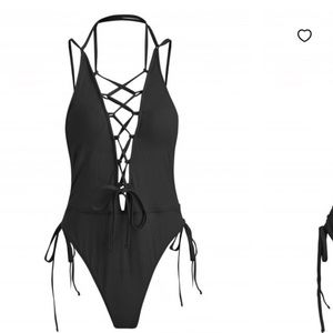 Other - Black tie up black one piece swimsuit